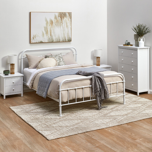 White Noosa 2 Drawer Bedside Table