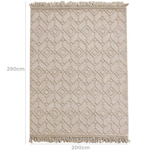 Beige Terra Hand-Woven Wool Blend Rug
