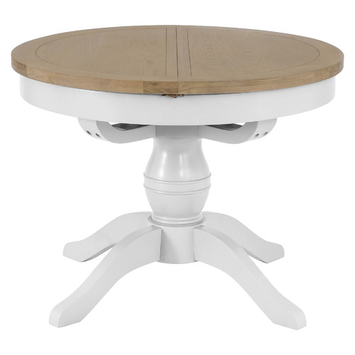 Temple Webster White Natural Alby, Round Dining Table With Extension Leaf