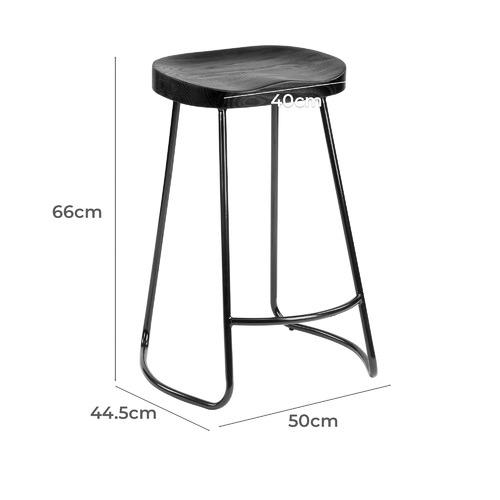 66cm Premium Vintage-Style Black Elm Wood Barstools with Black Legs