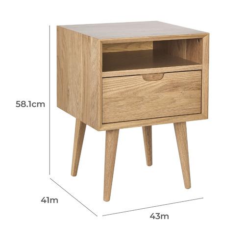Natural Olsen 1 Drawer Bedside Table