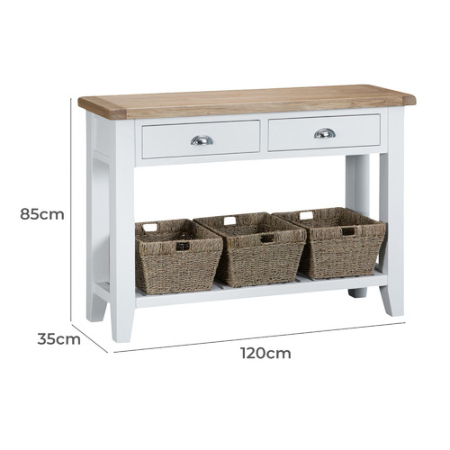 Webster White Alby Console Table, White Console Table With Storage Baskets