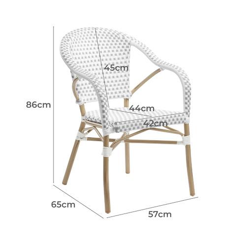 Grey & White Paris PE Rattan Outdoor Cafe Armchairs