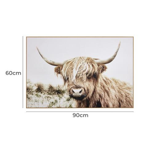 Shaggy Cow Framed Canvas Wall Art