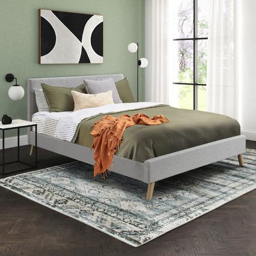 Seashell Grey Macey Upholstered Bed