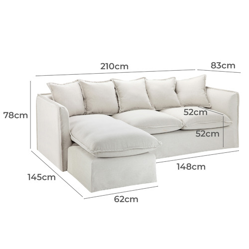 Natural Montauk Slipcover Reversible Chaise Sofa