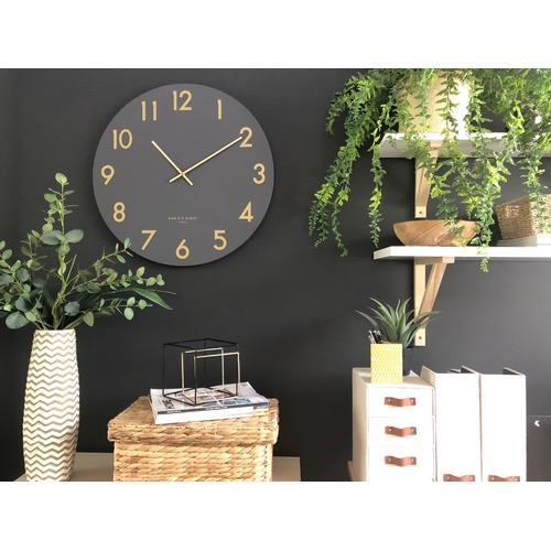 One Six Eight London Charcoal Grey Jones Silent Wall Clock