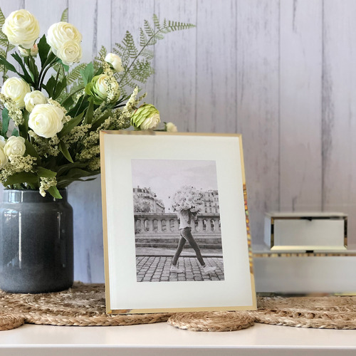 One Six Eight London White & Gold Minerva Glass Photo Frame