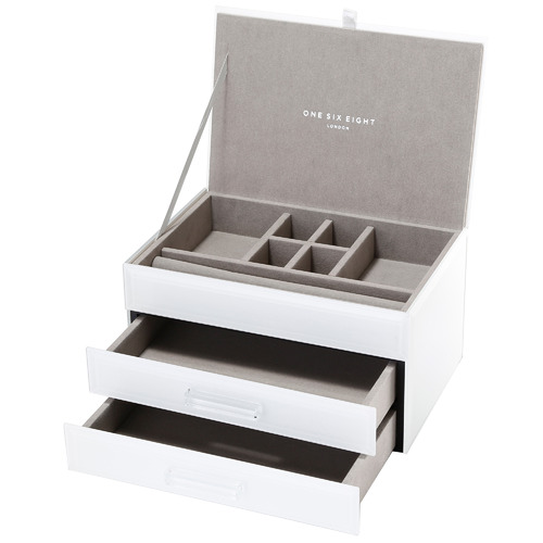 One Six Eight London Medium Gabriella Glass Jewellery Box