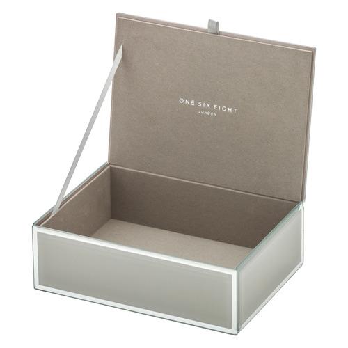 Cool Grey Sara Medium Personalised Glass Jewellery Box