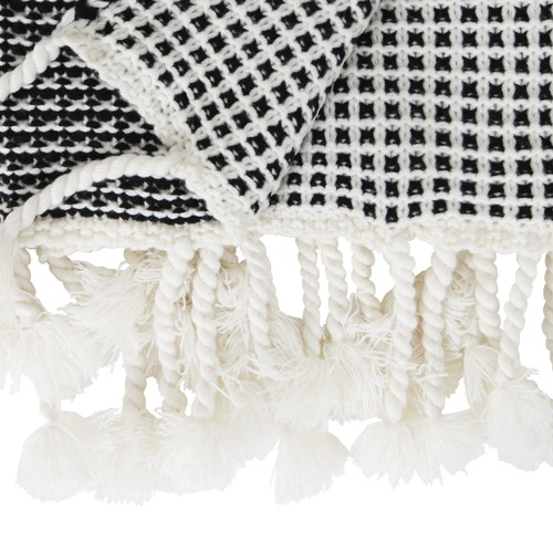 Collective Sol Black & White Waffle Knit Mason Throw
