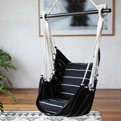 Collective Sol Black & White Noosa Cotton Hammock Chair Swing