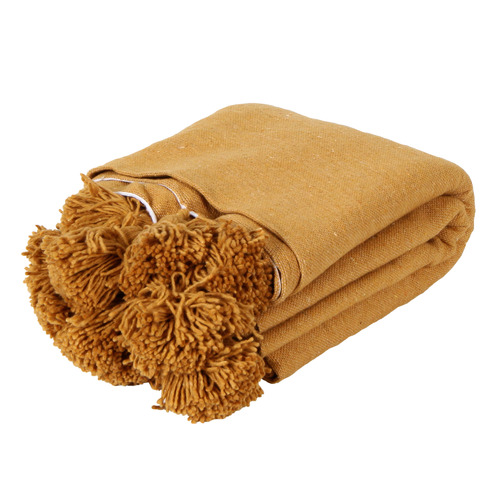 Collective Sol Gold Harper Pom Pom Cotton Throw Blanket
