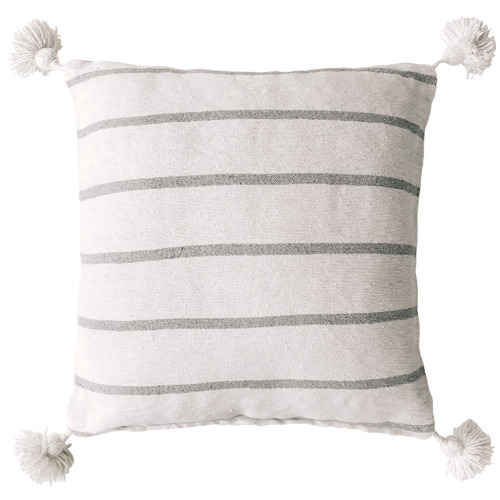 Collective Sol White & Grey Harper Pom Pom Cotton Cushion Cover
