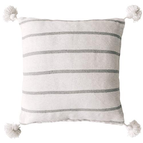 White & Grey Harper Pom Pom Cotton Cushion Cover