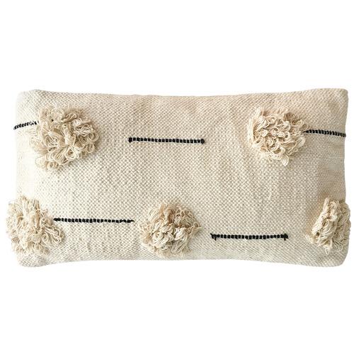 Cream Willow Rectangular Cotton Cushion
