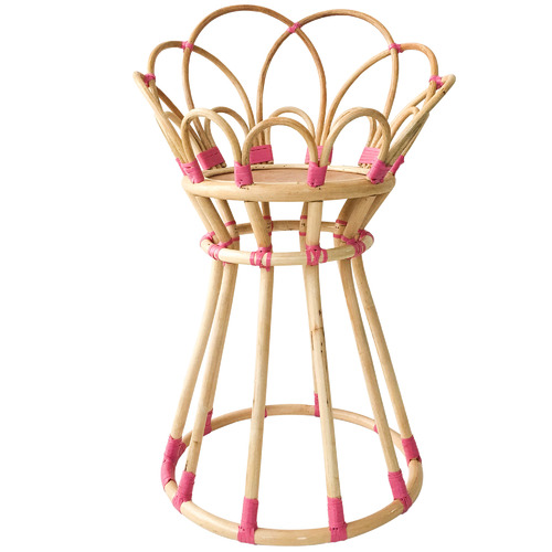 Collective Sol Pink Poppy Rattan Plant Stand