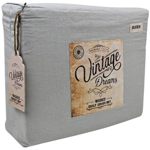 Odyssey Living Silver Vintage Washed Cotton Quilt Cover Set