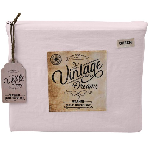 Odyssey Living Blush Vintage Washed Cotton Quilt Cover Set