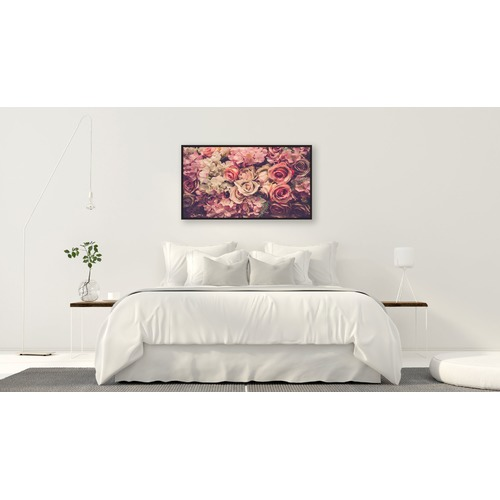 Rayell Pink Rose Bloom Framed Canvas Wall Art