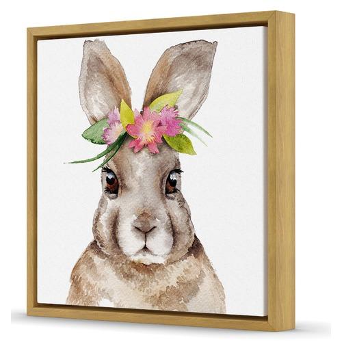Sunday Homewares Martha Flower Rabbit Framed Canvas Wall art
