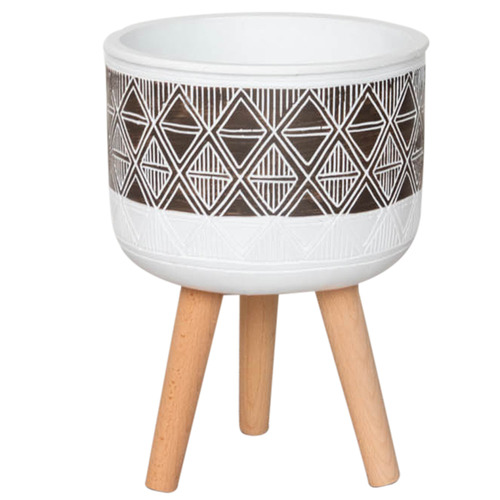 Sunday Homewares White & Brown Kanza Planter