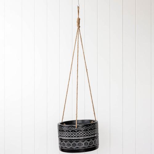 Sunday Homewares Black Aztec-Inspired Hanging Planter
