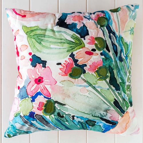Sunday Homewares Embroidered Peony Square Cotton Cushion