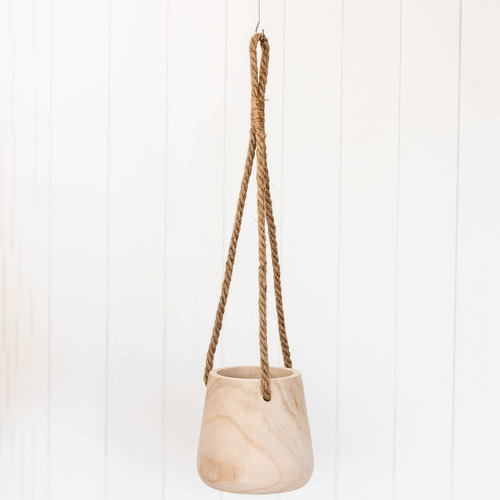 Sunday Homewares Jessa Hanging Wooden Planter with Rope