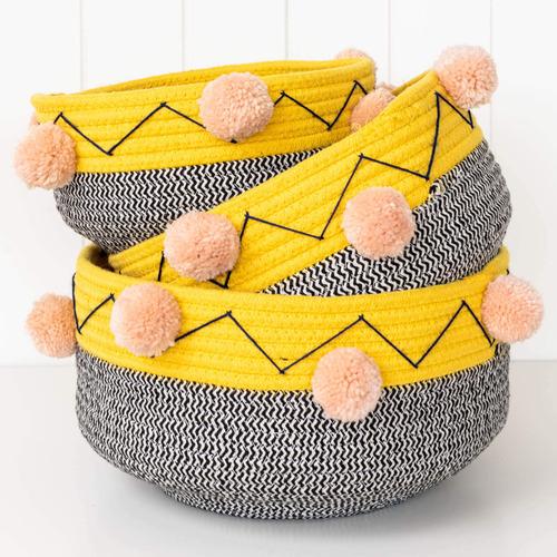 Sunday Homewares 3 Piece Boho Noma Cotton Rope Basket Set