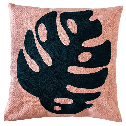 Sunday Homewares Blush Embroidered Monstera Cotton Cushion