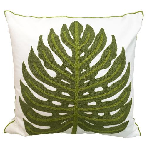 Sunday Homewares White Embroidered Monstera Cotton Cushion