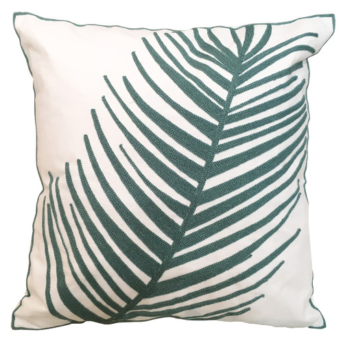 Sunday Homewares Teal Embroidered Fan Palm Cotton Cushion