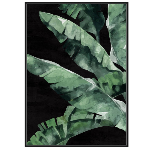 Sunday Homewares Banana Palm On Black Framed Canvas Wall Art