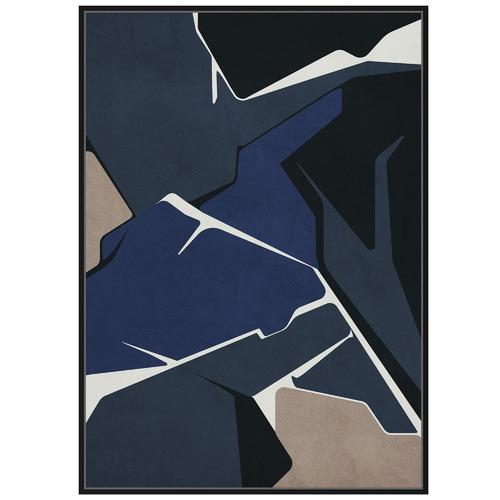 Sunday Homewares Navy Colour Block Abstract Framed Canvas Wall Art