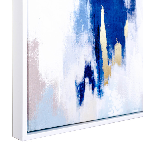 Sunday Homewares Abstract Blues & Gold Framed Canvas Wall Art