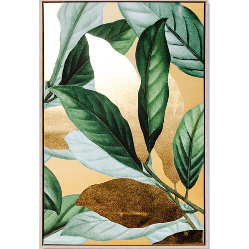 Sunday Homewares Green & Gold Leafy Framed Canvas Wall Art