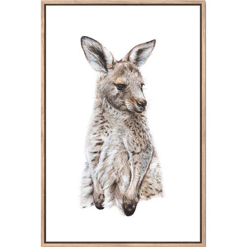 Sunday Homewares Artist Lab Eastern Grey Kangaroo Joey Framed Canvas Wall Art