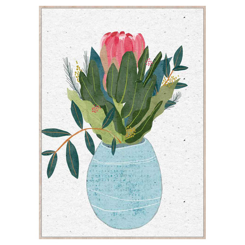 Sunday Homewares Pretty Potted Protea Framed Canvas Wall Art