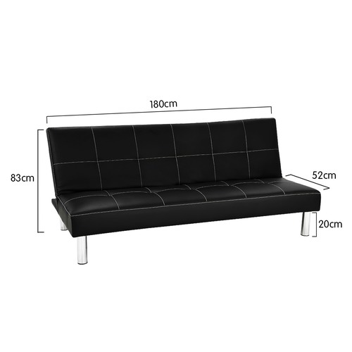 KHome Collection Black Chelsea Faux Leather 3 Seater Sofa Bed