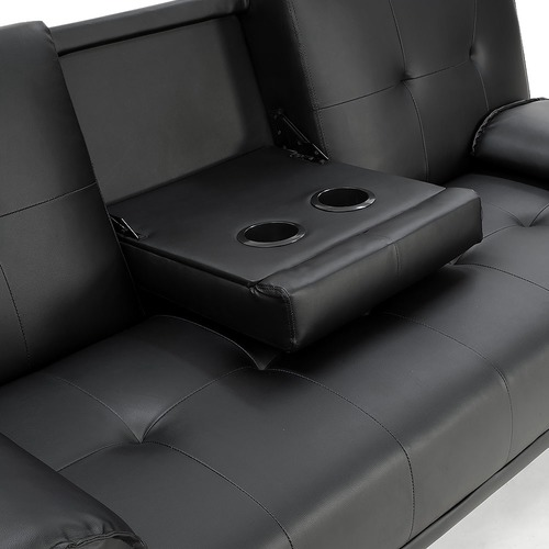 KHome Collection Black Rochester Faux Leather Sofa Bed