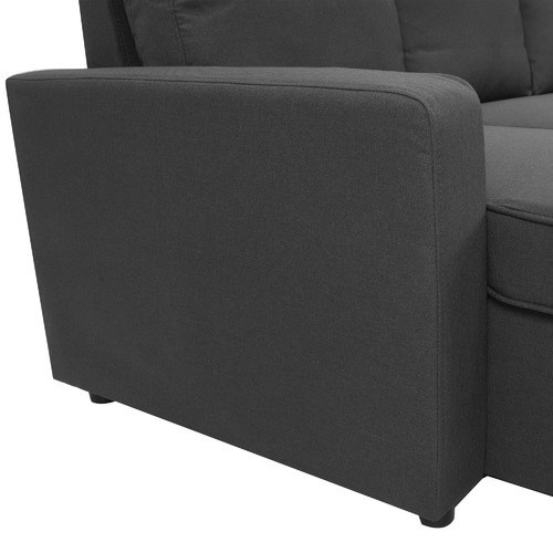 KHome Collection Eugene 3 Seater Corner Sofa Bed With Storage