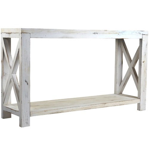 High ST. Lorette Farmhouse Cross Hatch Console Table