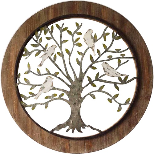 High ST. Galvanised Framed Tree of Life Wall Decor
