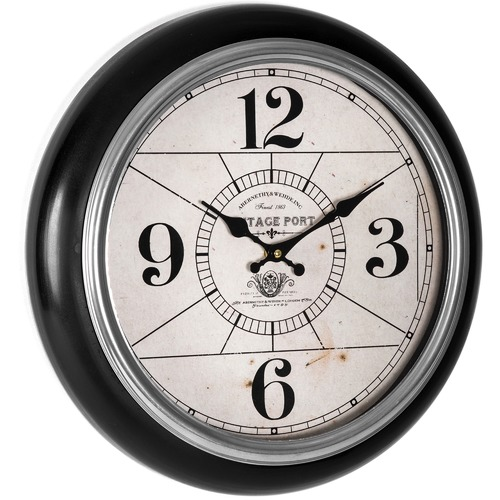 High ST. 42cm Black Framed Vintage Port Wall Clock