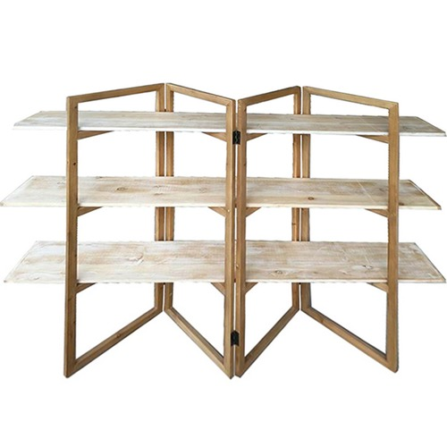 High ST. Natural 3 Tier Geometric Shelf Stand