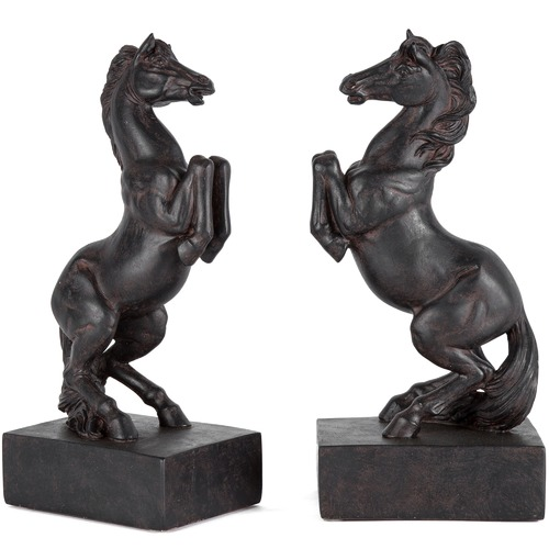 High ST. 2 Piece Rearing Horse Bookend Set