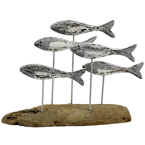 High ST. School of 5 Fish on Driftwood Base