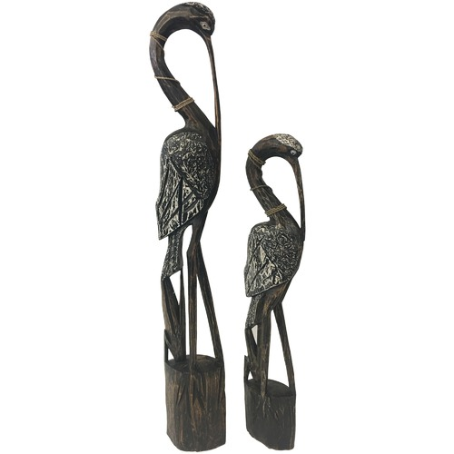 High ST. 2 Piece Hand Carved Crane Set