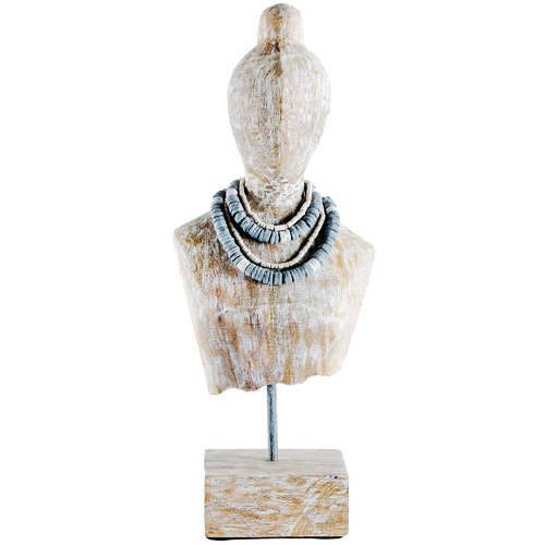 High ST. Distressed White Carved Tribal Timber Bust